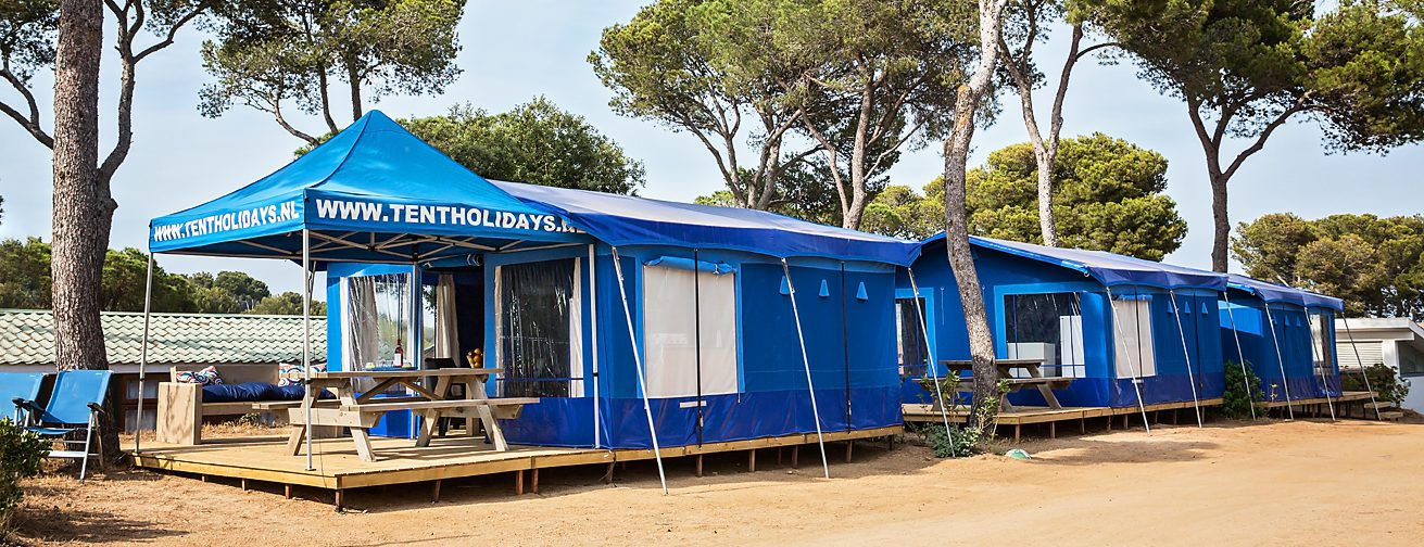 Blauw bungalow tent camping